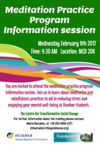Meditation practice program flyer